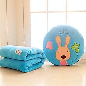 批发砂糖兔空调毯卡通珊瑚绒毯毛毯子抱枕两用被子靠垫背大号婴儿