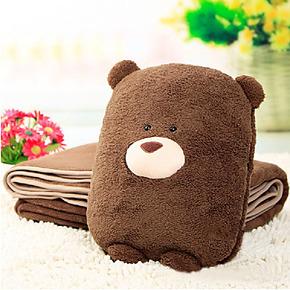 玮玮 卡通棕熊 珊瑚绒毯毛毯空调毯抱枕两用空调被生日礼物送男友