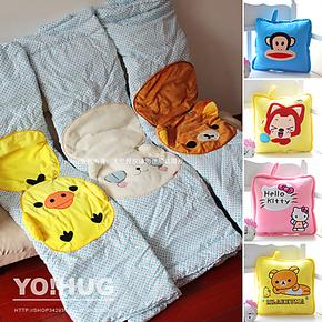卡通靠垫被 全棉枕头被子抱枕午睡空调被汽车 两用抱枕被 包邮