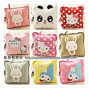可爱小兔子卡通空调被情侣抱枕被子两用靠垫被夏凉被生日礼物