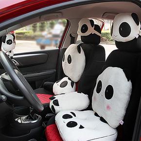 汽车头枕 腰靠垫 靠枕 护颈枕 可爱卡通熊猫车枕 车用抱枕被两用