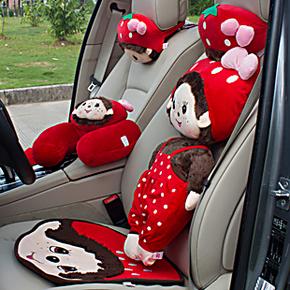 正品蒙奇奇汽车头枕 抱枕被 毛绒车用腰垫 腰靠 护颈头枕内饰用品