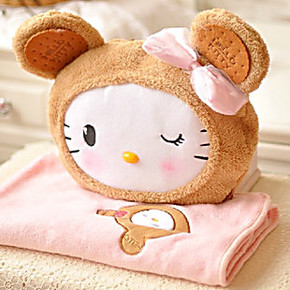 卡通饼干HelloKitty凯蒂猫KT猫空调毯秋冬薄被车载毛毯子抱枕两用