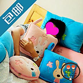 包邮!砂糖兔双人枕头空调毯砂糖兔空调被抱枕被夏凉被毛毯二合一
