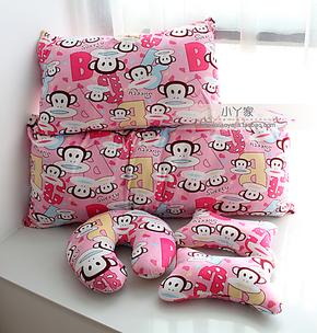 可爱大嘴猴抱枕单人枕双人枕拆洗枕套空调被两用靠垫U枕汽车头枕