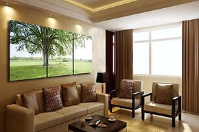 水晶膜画现代家居室内装饰画客厅装饰画挂画壁画三联 大绿树