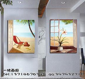 人工手绘油画家居室内装饰画玄关壁画温馨风景挂画海边景无框画