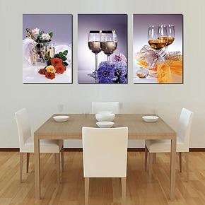 包邮无框画客厅厨房现代画壁画餐厅挂画酒店装饰画墙画三联画酒杯