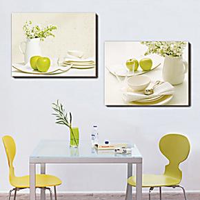现代餐厅装饰画无框画家居餐厅壁画挂画二联厨房餐厅水果画清晰