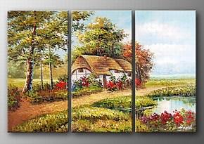 纯手绘油画家庭装饰画无框画壁画挂画墙画田园风格墙饰客厅风景画