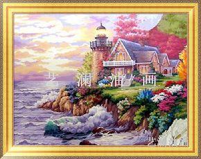 高档纯手绘油画 地中海 画 花园风景 田园风格家庭装饰挂画DZH012