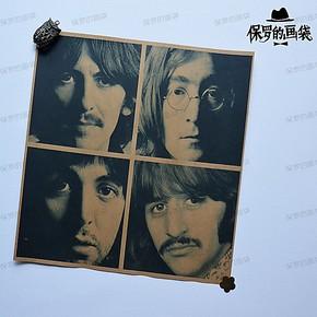 甲壳虫/披头士乐队 话就复古海报招贴牛皮纸画 室内装饰挂画 画芯
