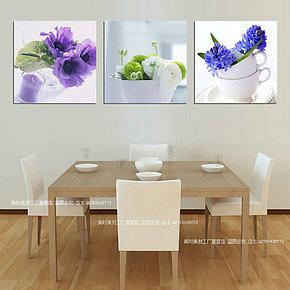 餐厅壁画无框画三联画背景墙画清新花卉挂画饭厅装饰画现代简约画