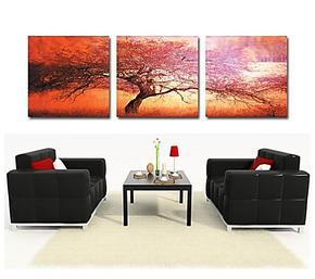 无框画 客厅装饰画 挂画壁画现代背景墙画餐厅画 卧室三联画 红树