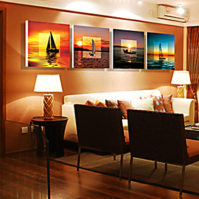 家居装饰画现代客厅无框画书房办公室酒店挂画壁画墙画版画帆船