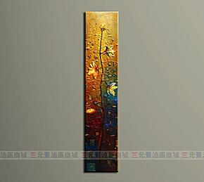 纯手绘室内装饰酒店客厅装饰画玄关挂画手绘无框油画抽象画花卉