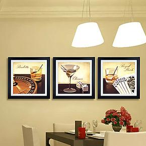 酒杯有框画家庭装饰挂画喷绘挂墙壁墙上绘画黑色边框餐厅客厅卧室