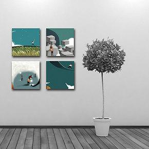 黑荔枝原创四联无框画 现代室内装饰客厅画 幼儿园装饰画挂壁画