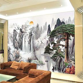 电视背景墙纸壁纸壁画大型客厅卧室沙发墙画贴布无纺布云迎客松