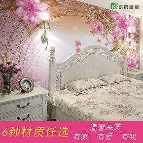 温馨大型壁画 卧室客厅电视沙发背景墙壁纸环保墙画 梦幻桃花包邮