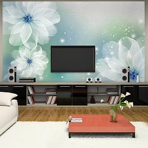 馨雅白莲花大型壁画温馨卧室客厅电视背景墙壁纸墙画自粘墙纸特价