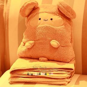 卡卡鼠 三用可爱抱枕 小毯子 空调毯 儿童毛毯午睡毯 珊瑚绒毯子