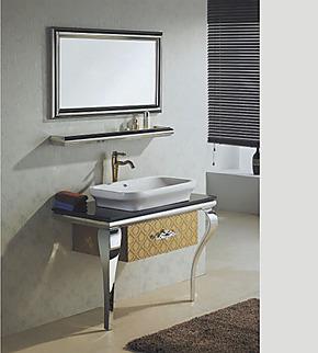 欧式新款不锈钢浴室柜组合 大理石台盆 马赛克落地柜 特价洗手盆