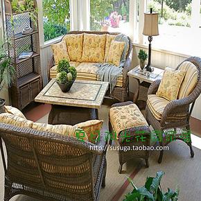 美式乡村户外藤编家具阳光房组合沙发欧式别墅露台阳台餐桌椅庭院