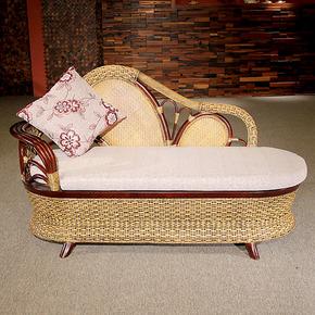 广益藤艺贵妃椅太妃椅藤木沙发躺椅懒人沙发单人椅中式休闲仿古
