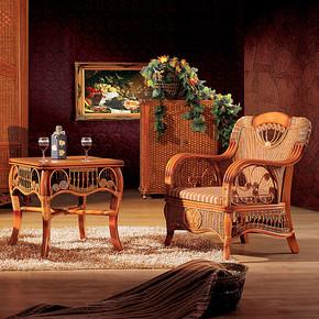 天然藤编藤艺时尚藤家具休闲椅子椅藤木制单人沙发茶几两件套