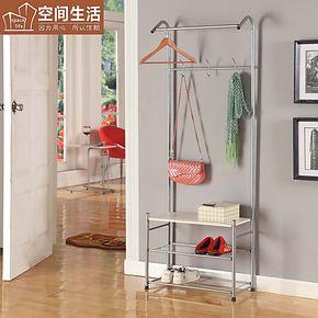 鞋架鞋柜带衣帽架 门厅置物架一体式不锈钢金属家具