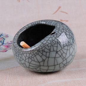 龙泉青瓷创意烟灰缸时尚便携大号陶瓷欧式复古鸟巢中式烟灰缸礼物