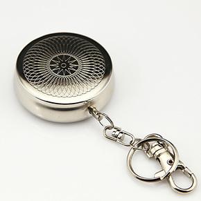 旅行携带 便携式烟灰缸 迷你 个性烟缸 银色 带挂钩