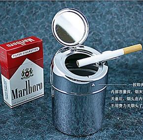 不锈钢汽车烟灰缸优质自动金属烟灰缸 烟缸便携带盖烟灰缸 120克