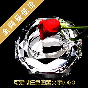 正品水晶烟灰缸烟缸欧式复古创意特大号七夕情人节送男友礼品定制