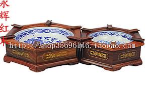 红木镶青花瓷烟灰缸 红酸枝实用木质创意礼品烟缸红木工艺品