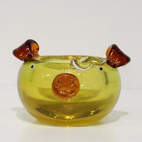 小猪烟灰缸创意个性水晶琉璃工艺品欧式复古时尚车载烟灰缸猪摆件
