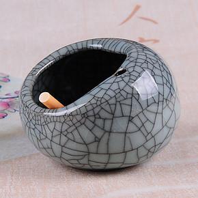 青瓷时尚烟灰缸 墨裂纹 防风创意个性烟灰缸 陶瓷 中欧式复古鸟巢