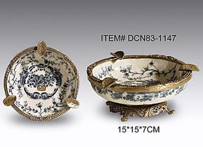 陶瓷镶纯铜烟灰缸大号创意个性奢华时尚烟缸欧式复古青花瓷烟灰缸