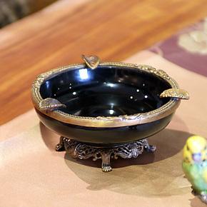 陶瓷镶纯铜烟灰缸大号创意个性奢华时尚烟缸碟欧式复古烟灰缸批发