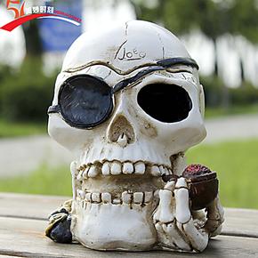 新店开张特价创意拿烟斗骷髅头烟灰缸可爱时尚送男朋友生日礼物