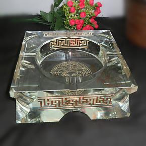 包邮,欧式水晶烟缸方形大号手工玻璃烟灰缸个性品味 进口水晶玻璃