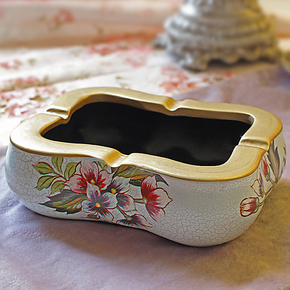 欧式复古陶瓷大号烟缸 创意时尚烟灰缸 田园装饰烟灰缸 工艺摆件
