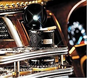 DAD VIP施华洛世奇水晶LED太阳能汽车烟灰缸 时尚车载礼物品