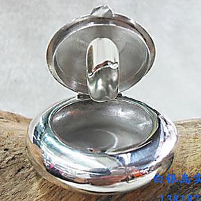 纯银烟灰缸摆件 纯银光板烟灰缸 可做储物盒放胎毛纯银盒子摆件