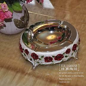 田园椭圆形镀银烟灰缸精品装饰防氧化纯银色家居用品礼品