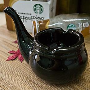 创意礼品 个性时尚 烟斗烟灰缸 陶瓷烟灰缸 父亲节礼物 包邮