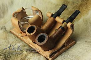 真皮双斗位烟斗架头层植鞣牛皮手工定制座位款带烟灰缸
