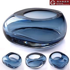 极简约鹅卵石造型设计时尚烟灰缸迷你小型水晶玻璃缸摆件双层精致