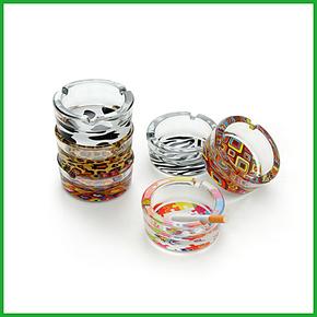小型圆形玻璃烟缸 简约烟灰缸 多款花色 时尚个性花底透明收纳缸